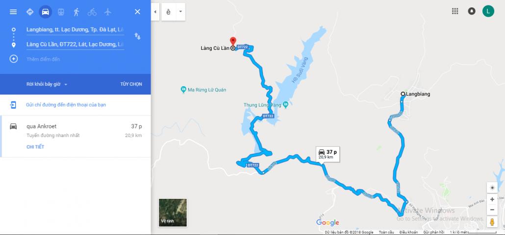 Đường đi từ Langbiang đến Lang Cù Lần
