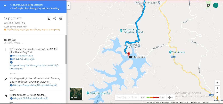 Đường đi hồ Tuyền Lâm