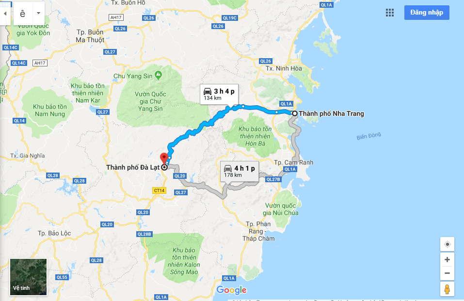 Bản đồ đường đi Đà Lạt – Nha Trang